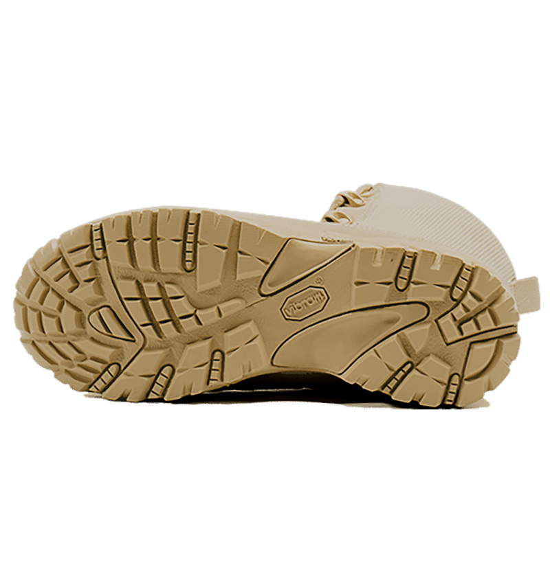 Tan Combat Boot on its side, bottom sole Altai gear