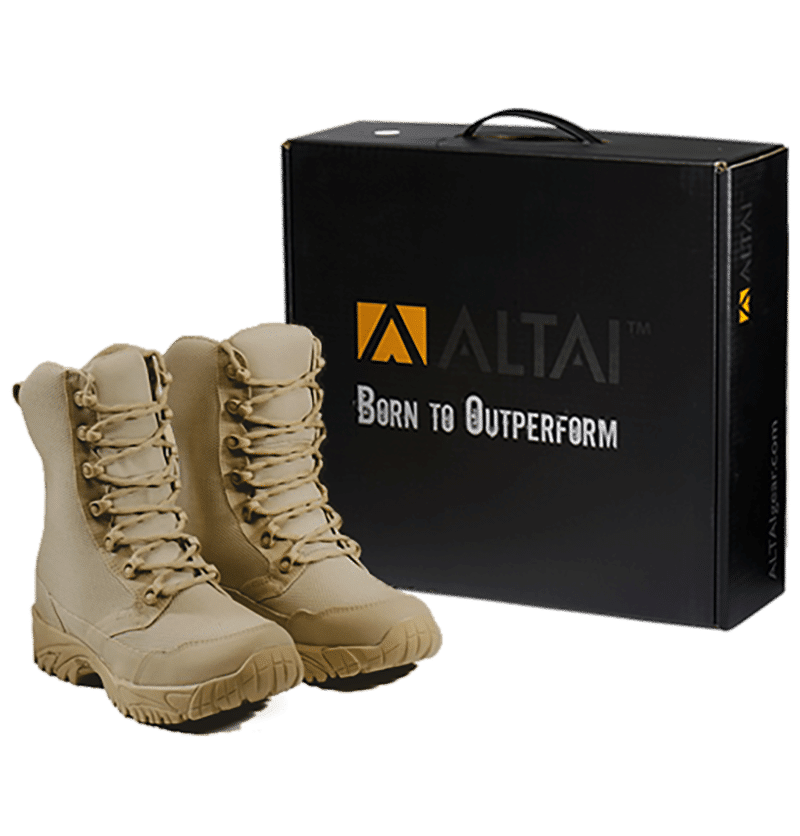 Tan combat boots with package box Altai Gear