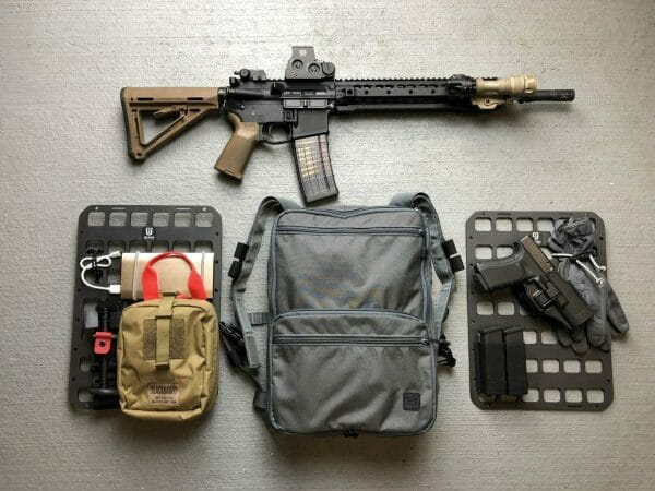 10 x 14 inches rmp molle panel for backpack with pistol and medical set up EDC