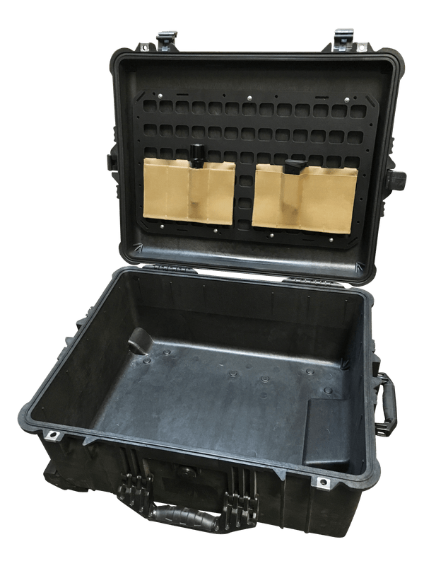 21.25 x 13 pelican case molle panel with gear on top lid