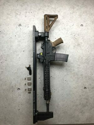 Locking Rifle Rack Kit - Raptor Rail Buffer Tube ar 15 locked and attached to molle panel