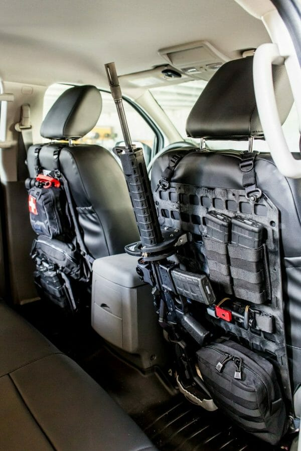 Locking rifle kit for molle panel on back seat of truck