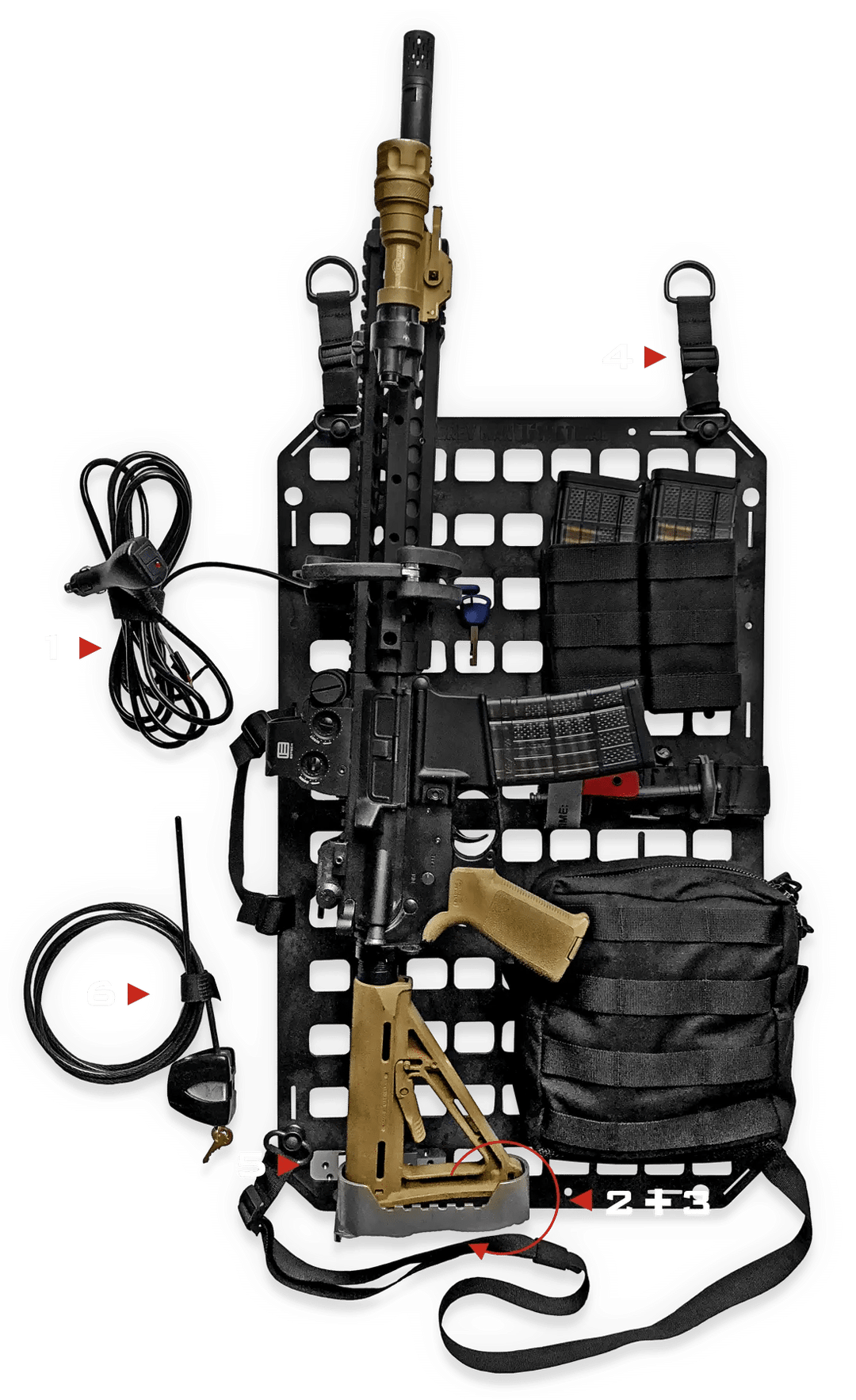 rifle mounted onto molle panel with locking keeping it secure to the car and rifle locked, with molle pouches and medical supplies
